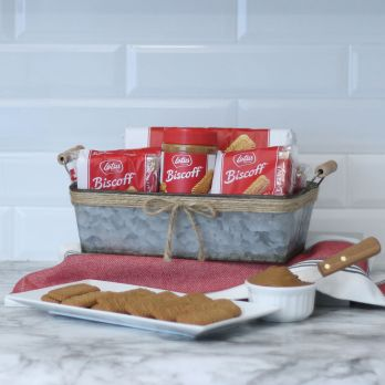 Galvanized Tin Gift Basket with Lotus Biscoff Cookies and Cookie Butter